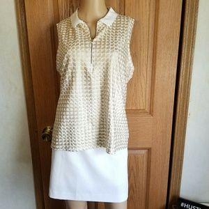 Matching Gold shirt & Golf skirt skort Size XL 12